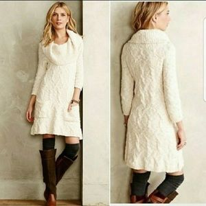 Anthro Sleeping on Snow Meli Cream Sweater Dress